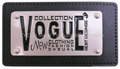 Metal Nameplate w/Leather Patch