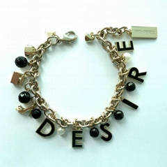 Fashion Metal Bracelet w/Charms & Decals