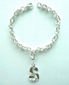 Fashion Metal Bracelet w/Letter Decals