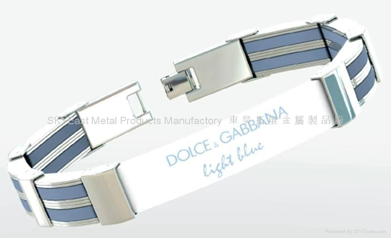 Fashion Metal Bracelet w/Charms & Decals 1