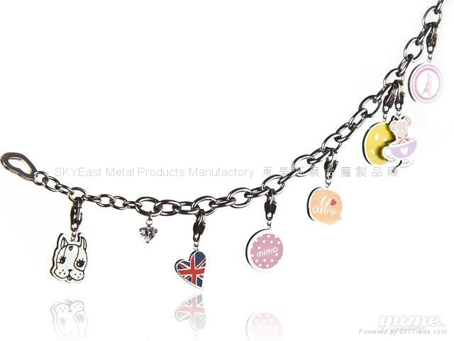 Shiny Metal Bracelet with Epoxy Charms 3