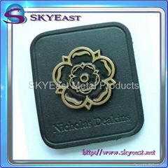 Enamel Metal Nameplate with Leather Patch