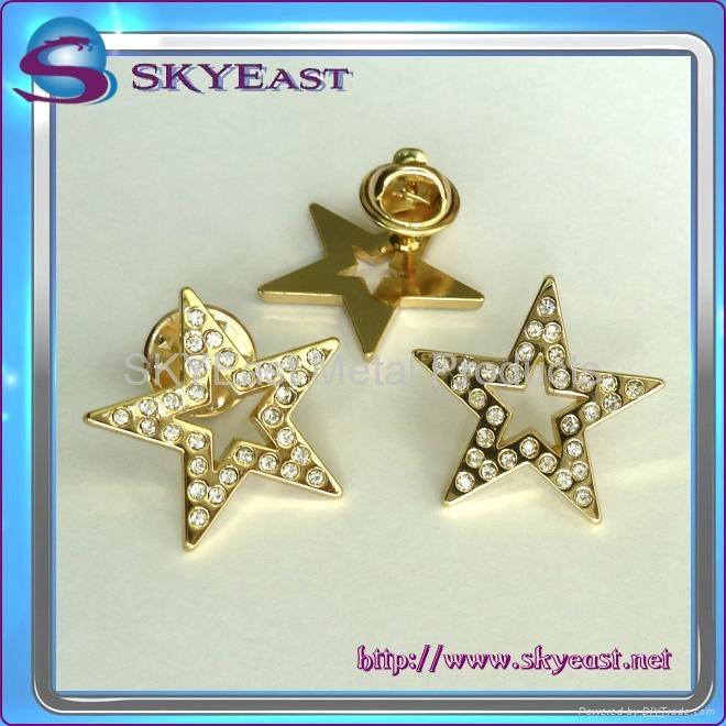 Star Shape Metal Badge With Rhinestones