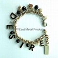 Fashion metal bracelet with charms & logo