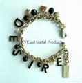 Fashion metal bracelet with charms & logo