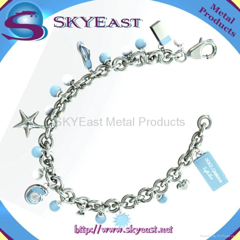 Metal Bracelet With Shiny Charms and Logo 1