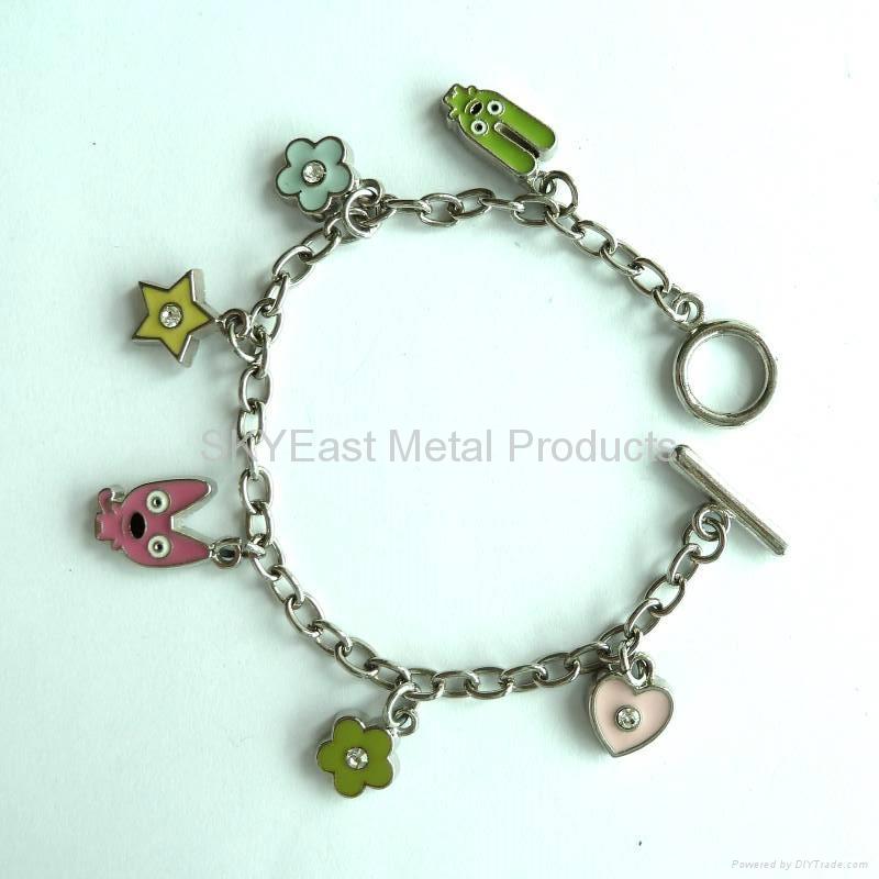 Metal Bracelets with Enamel Charms & Rhinestones 2