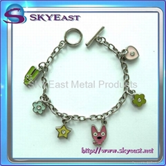 Metal Bracelets with Enamel Charms & Rhinestones