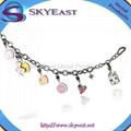Shiny Metal Bracelet with Epoxy Charms