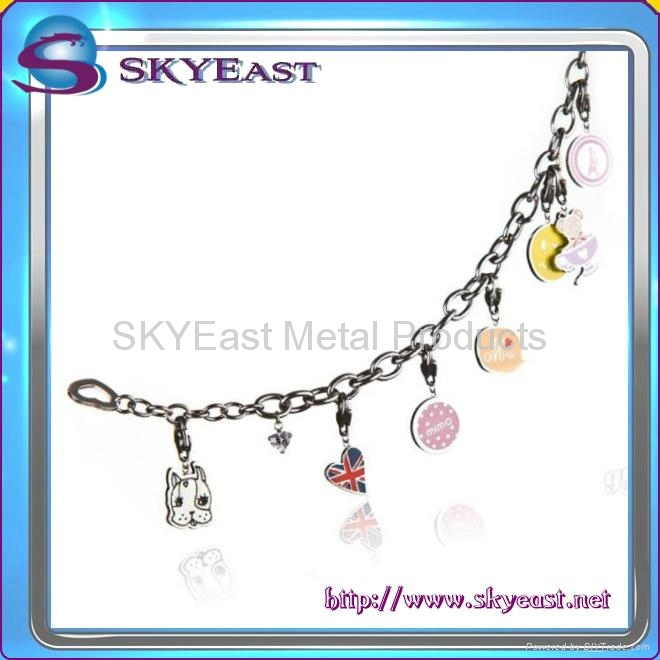 Shiny Metal Bracelet with Epoxy Charms 2