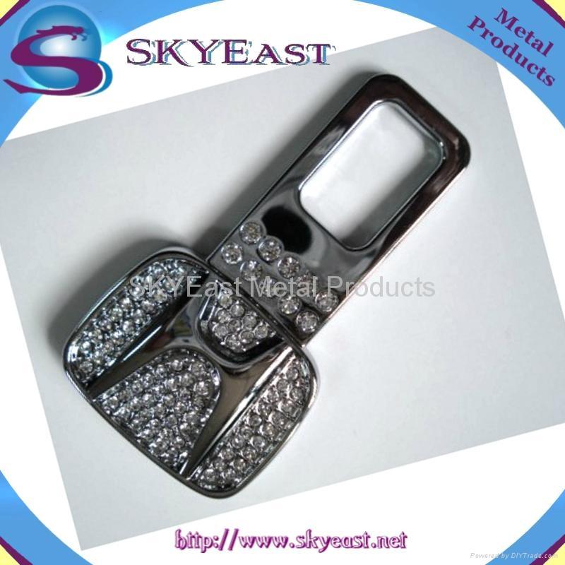 Shiny Silver Metal Zip Puller with Rhinestones 2