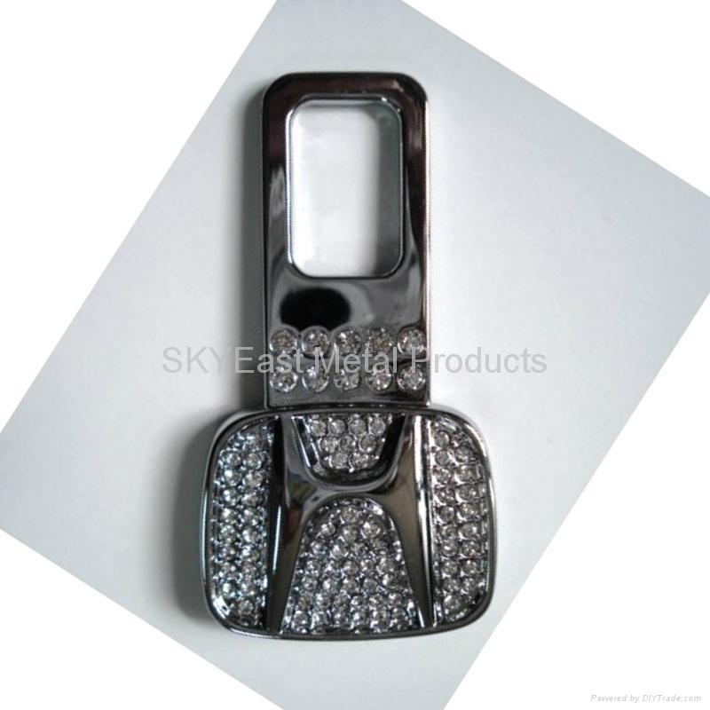 Shiny Silver Metal Zip Puller with Rhinestones 4