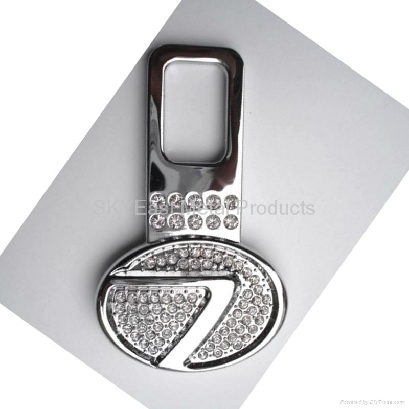 Shiny Silver Metal Zip Puller with Rhinestones 3