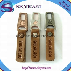 Metal Zip Puller with Engraved PU Leather