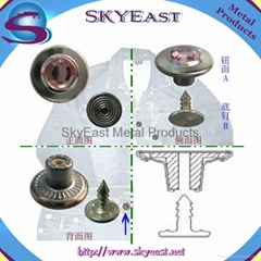 Crystal Rhinestone Plastic Insert Metal Jean Button