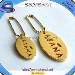光亮金色透字唛挂牌配珠鍊