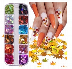 12 Colors Fall Nail Art Stickers Decals Maple Leaf Nail Glitter Sequins Fall Nai