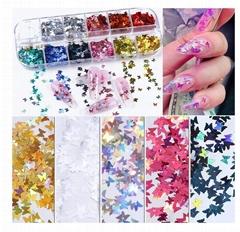 3D Butterfly Nail Glitter Sequins Laser Butterfly Nail Art Supplies 12 Colors