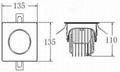 方形單顆25W防眩光LED筒燈 2