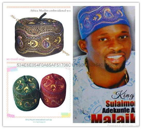 非洲穆斯林刺繡羊毛帽Africa Muslim embroidered wool cap 1