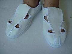 宏泓防静电PVC底革面四眼鞋