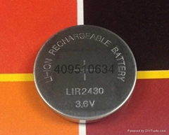 3.6V可充电锂离子扣式电池LIR2430纽扣电池