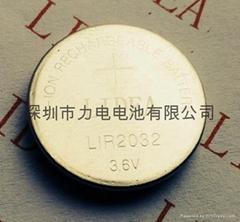 3.6V可充锂离子电池LIR2032纽扣电池