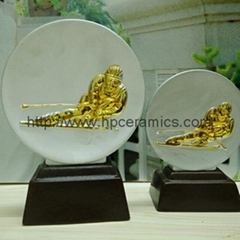 Silver & Gold Ceramic skii Trophy plaques, Skii awards, sports trophies