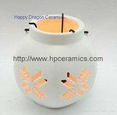Small Six Corner Ceramic Candle Lanterns