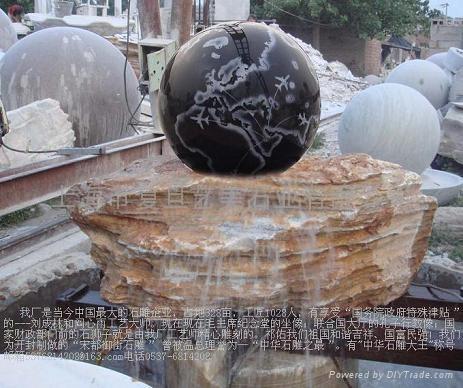 石雕噴泉風水球 2