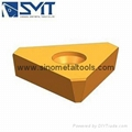 Indexable carbide milling inserts for steel tube mills