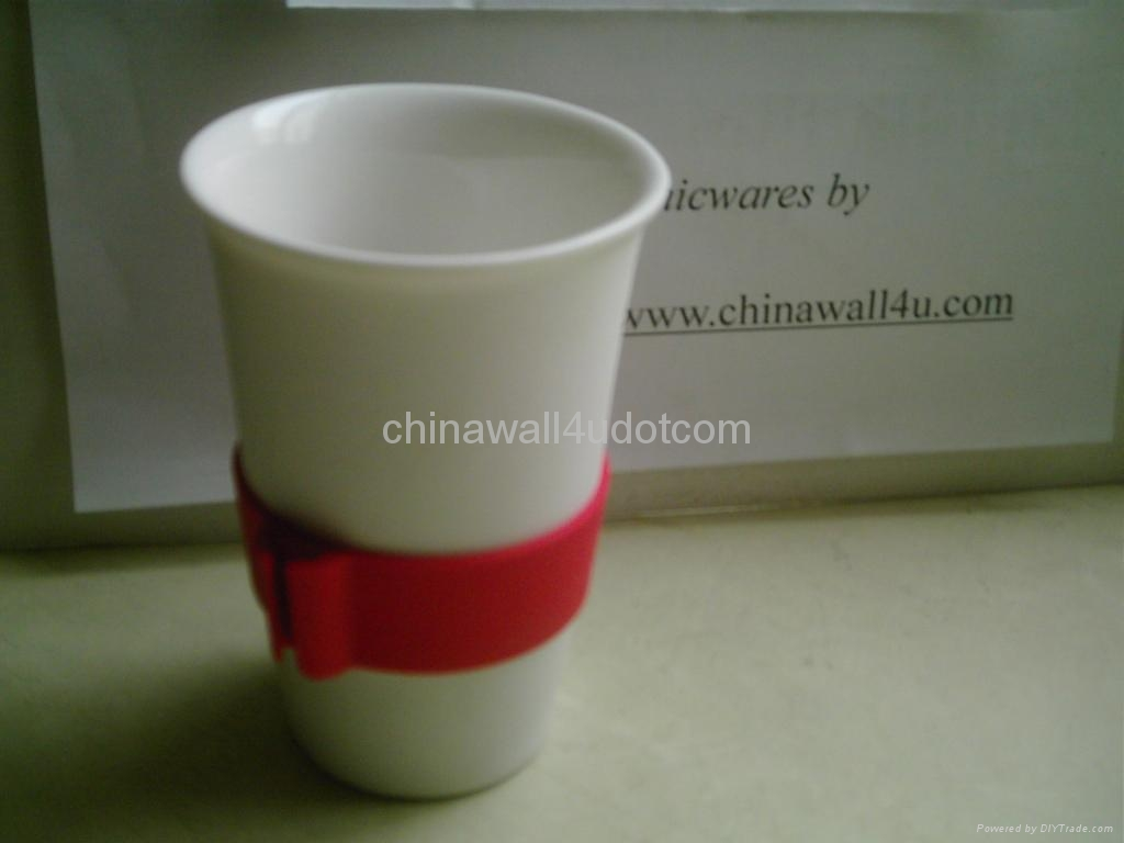 eco friendly porcelain mug,silicone lid 4