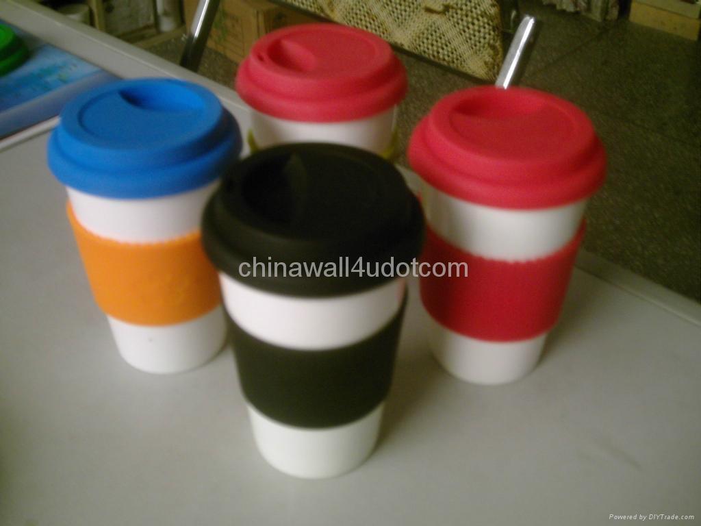 eco friendly porcelain mug,silicone lid 5