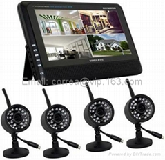 7 Inch LCD Monitor Receiver DVR 4CH 2.4GHz Digital Recorder Wireless CCTV