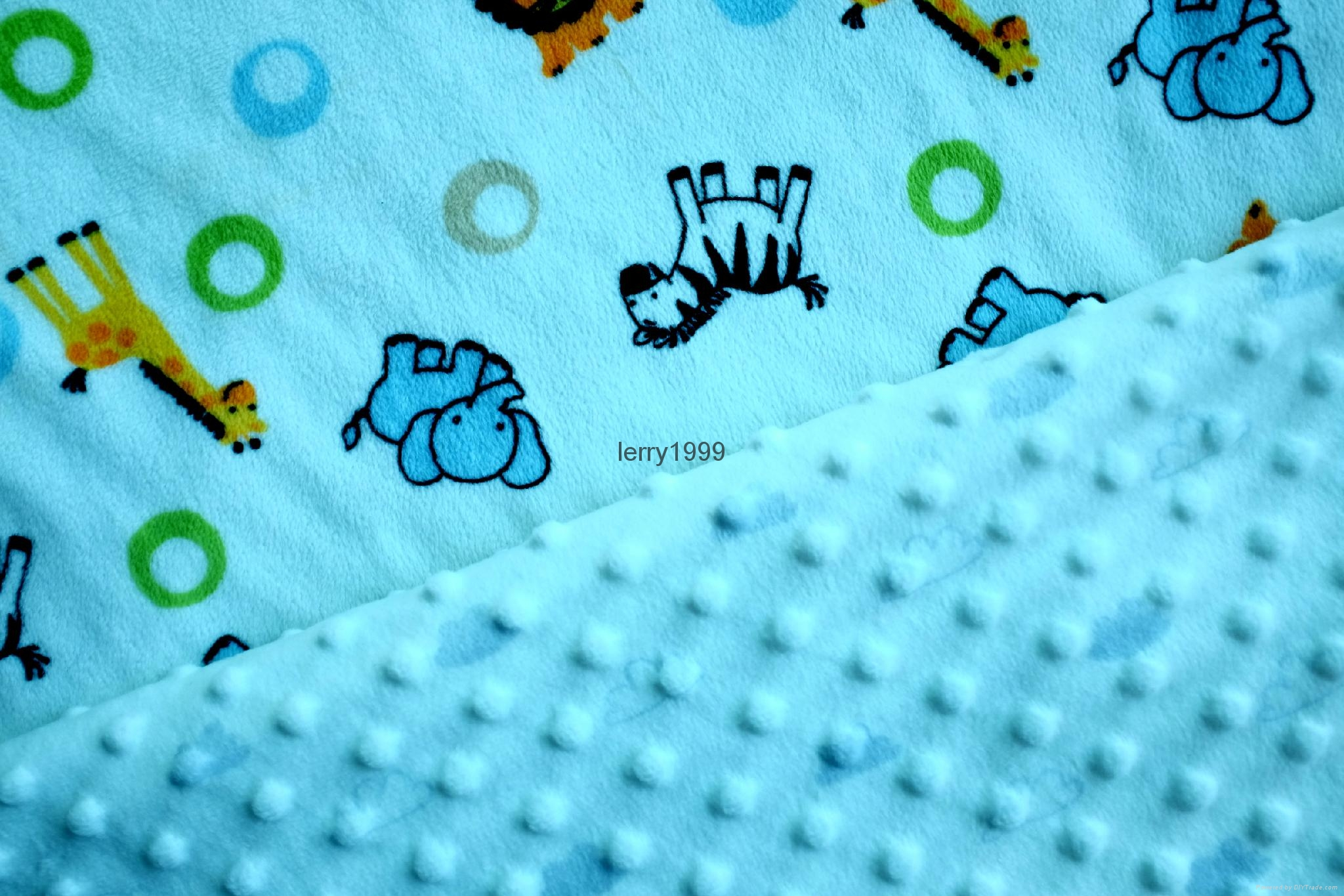 Minky dot fabric with printing design 3