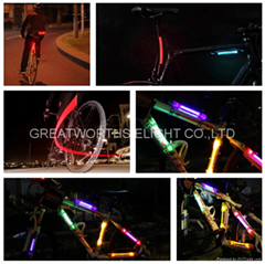 LED fiber safty warning stick super flare bicycle frame lamp universal folding