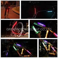 LED fiber safty warning stick super flare bicycle frame lamp universal folding