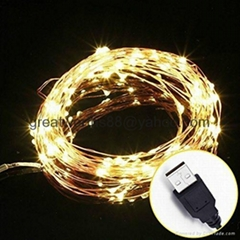 新款LED聖誕節日裝飾彩燈 USB銅線燈串 戶外防水 婚禮批發創意彩燈批發