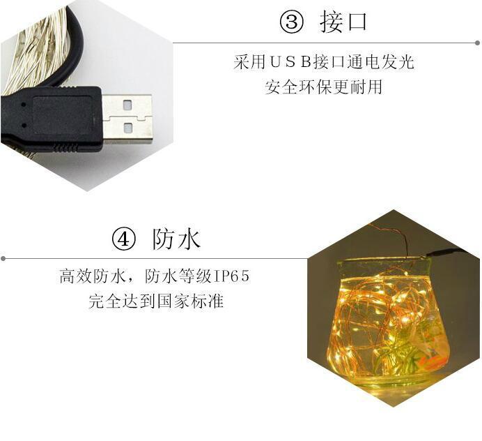 電商爆款 USB銅線燈串 充電寶DC5V燈串 led防水銅線燈 15