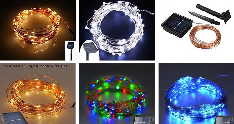 跨境電商熱銷 銅線燈太陽能燈串 戶外花園防水串燈 5