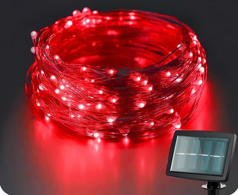 跨境電商熱銷 銅線燈太陽能燈串 戶外花園防水串燈 9
