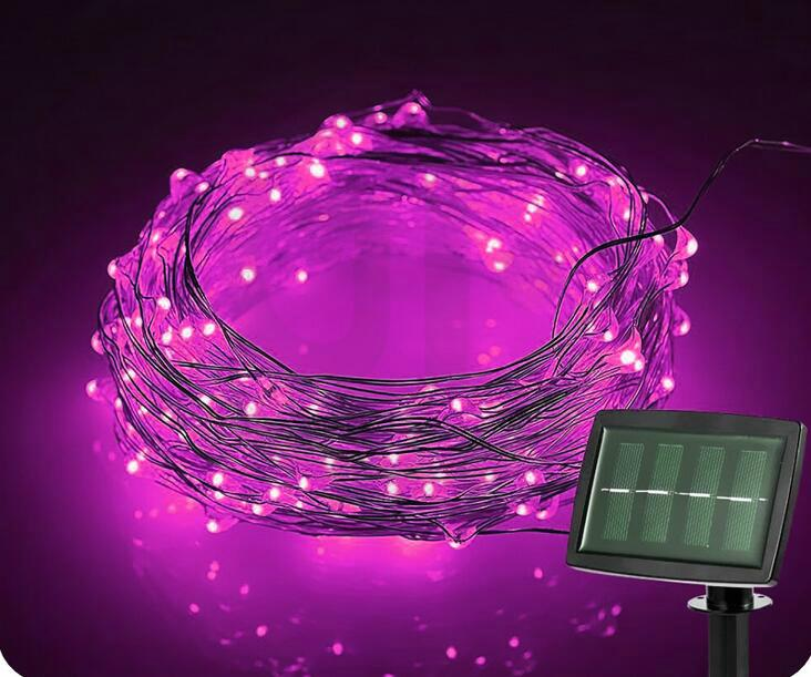 跨境電商熱銷 銅線燈太陽能燈串 戶外花園防水串燈 11