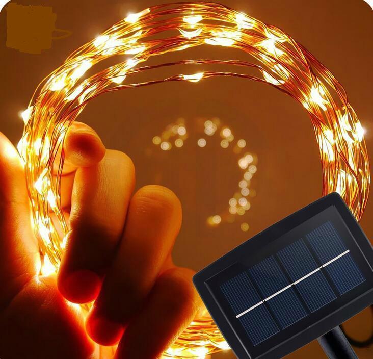 跨境電商熱銷 銅線燈太陽能燈串 戶外花園防水串燈 1