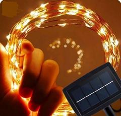 跨境电商热销 铜线灯太阳能灯串 户外花园防水串灯