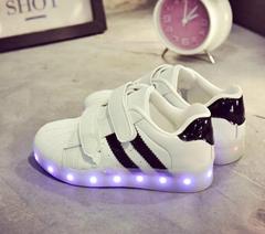 韓版儿童充電發光鞋 led夜光燈童鞋 魔朮貼男女款儿童鞋跨境電商