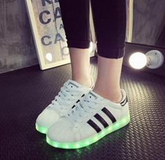 男鞋七彩發光鞋熒光鞋夜光鞋情侶款LED鞋跑步鞋USB充電燈光鞋女鞋