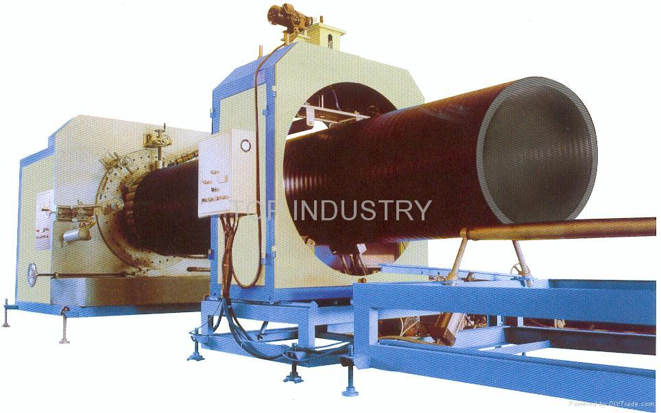 Large diameter hollow wall spiral pipe production line
