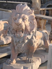 Leone in Marmo Beige Rosso , Lions marble