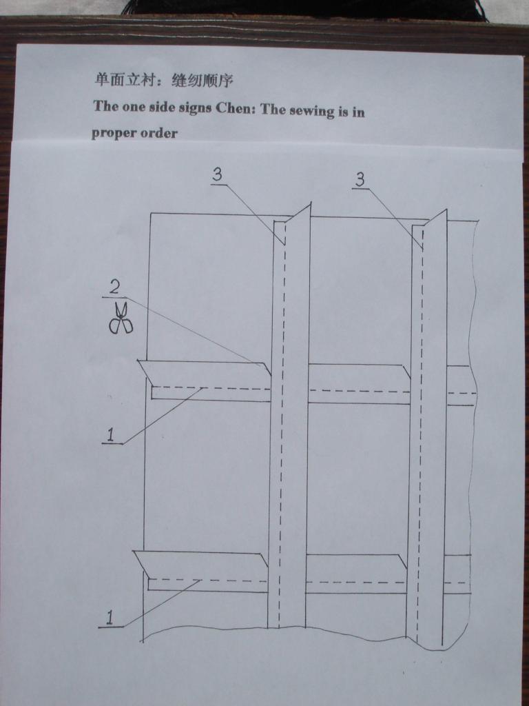 单面立衬:缝纫顺序