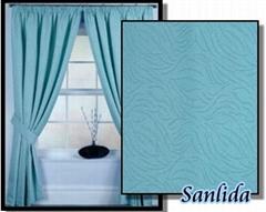 100%涤纶永久阻燃素色提花工程窗帘